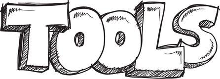 Διάνυσμα εργαλείων του Word Doodle Στοκ Εικόνα