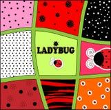 Διάνυσμα καρτών πρόσκλησης υποβάθρου Ladybug Στοκ Εικόνα
