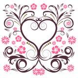 διάνυσμα καρδιών λουλουδιών Στοκ Φωτογραφία
