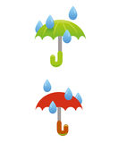 Διάνυσμα ομπρελών και βροχής Στοκ Φωτογραφίες