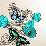 Διάνυσμα πίσω με τις πεταλούδες στο εκλεκτής ποιότητας ύφος Στοκ φωτογραφία με δικαίωμα ελεύθερης χρήσης