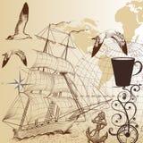 Διάνυσμα πίσω με το σκάφος και το χάρτη Στοκ Φωτογραφία