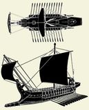 διάνυσμα σκαφών 01 αρχαίου Έ&lam Στοκ Εικόνες