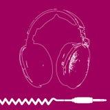 Διάνυσμα σχεδίου περιλήψεων ακουστικών Στοκ εικόνες με δικαίωμα ελεύθερης χρήσης