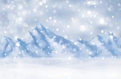 Διάνυσμα της χειμερινής σκηνής με το υπόβαθρο βουνών Στοκ εικόνα με δικαίωμα ελεύθερης χρήσης