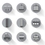 Διάνυσμα του γραφικού αστικού σχεδίου εικονιδίων κτηρίου επίπεδου Στοκ φωτογραφία με δικαίωμα ελεύθερης χρήσης