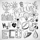 Διάνυσμα φύσης οικολογίας doodles Στοκ Εικόνες