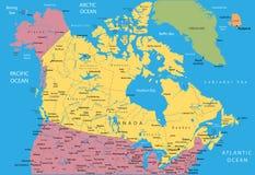 διάνυσμα χαρτών του Καναδ Στοκ Εικόνες