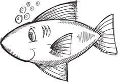 Διάνυσμα ψαριών Doodle Στοκ Εικόνα