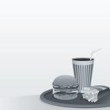 Διάνυσμα Illustartion γρήγορου φαγητού bw Στοκ εικόνα με δικαίωμα ελεύθερης χρήσης