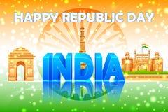 Διάσημο μνημείο στο ινδικό υπόβαθρο Στοκ Εικόνα
