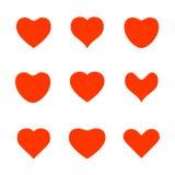 Διάφορα εικονίδια μορφής καρδιών Στοκ Εικόνες