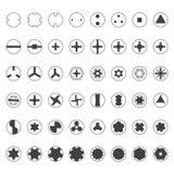 Διάφορο σύνολο σκιαγραφιών κεφαλιών βιδών Στοκ φωτογραφία με δικαίωμα ελεύθερης χρήσης