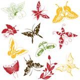 Διακοσμήσεις πεταλούδων καθορισμένες Στοκ Εικόνα