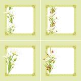 Διακοσμητικά πράσινα πλαίσια με τα λουλούδια και τις πεταλούδες άνοιξη Στοκ Εικόνες
