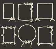 Διακοσμητικά πλαίσια σχοινιών στο μαύρο υπόβαθρο Στοκ εικόνες με δικαίωμα ελεύθερης χρήσης