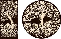 Διακοσμητικές εικόνες στο αναδρομικό γραφικό ύφος με το δέντρο Στοκ Εικόνες