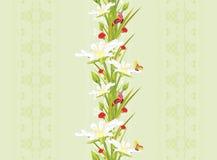 Διακοσμητικό άνευ ραφής υπόβαθρο με τα λουλούδια και τις πεταλούδες άνοιξη Στοκ Εικόνες
