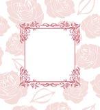 Διακοσμητικό πλαίσιο στο άνευ ραφής υπόβαθρο με τα τυποποιημένα τριαντάφυλλα Στοκ εικόνες με δικαίωμα ελεύθερης χρήσης
