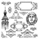 Διακοσμητικό στοιχείο σχεδίου Lviv ιστορικό Στοκ Εικόνα