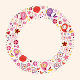 Διακοσμητικό υπόβαθρο συνόρων πλαισίων κύκλων φύσης πουλιών και λουλουδιών αγάπης Στοκ εικόνα με δικαίωμα ελεύθερης χρήσης