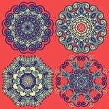 Διακόσμηση κύκλων, διακοσμητική στρογγυλή συλλογή δαντελλών Στοκ Εικόνα