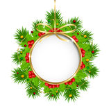 Διακόσμηση Χριστουγέννων με το έμβλημα κύκλων Στοκ Εικόνες