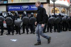 διαμαρτυρία του Λονδίνου αυστηρότητας Στοκ Εικόνες