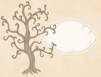 Διανυσματικά δέντρο μηλιάς και πλαίσιο. σχέδιο προτύπων καρτών πρόσκλησης Στοκ Εικόνα