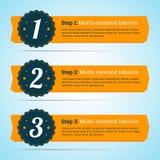 Διανυσματικά βήματα, εμβλήματα προόδου στο επίπεδο ύφος για σας infographic Στοκ Εικόνα