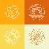 Διανυσματικά εικονίδια ήλιων περιλήψεων και στοιχεία σχεδίου λογότυπων Στοκ Εικόνες