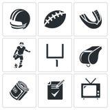 Διανυσματικά εικονίδια αμερικανικού ποδοσφαίρου καθορισμένα Στοκ Εικόνες