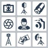Διανυσματικά εικονίδια εξοπλισμού φωτογράφων και φωτογραφιών Στοκ Εικόνες