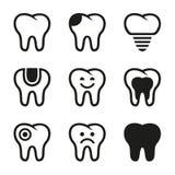 Διανυσματικά εικονίδια δοντιών καθορισμένα Στοκ Φωτογραφία