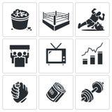 Διανυσματικά εικονίδια πάλης καθορισμένα Στοκ φωτογραφίες με δικαίωμα ελεύθερης χρήσης