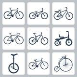 Διανυσματικά εικονίδια ποδηλάτων καθορισμένα Στοκ Εικόνες