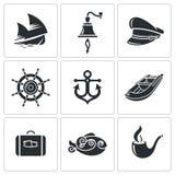 Διανυσματικά εικονίδια τουρισμού που θέλει διακοπές στη θάλασσα καθορισμένα Στοκ Εικόνες