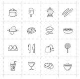 Διανυσματικά εικονίδια τροφίμων καθορισμένα Στοκ φωτογραφίες με δικαίωμα ελεύθερης χρήσης