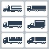 Διανυσματικά εικονίδια φορτηγών καθορισμένα, πλάγια όψη Στοκ Φωτογραφία