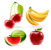 Διανυσματικά εικονίδια φρούτων Στοκ Φωτογραφία