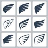 Διανυσματικά εικονίδια φτερών Στοκ εικόνες με δικαίωμα ελεύθερης χρήσης