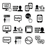 Διανυσματικά εικονίδια Cyberbullying καθορισμένα Στοκ Φωτογραφίες