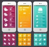 Διανυσματικά επίπεδα στοιχεία Ιστού. Πρότυπα εφαρμογών Στοκ εικόνα με δικαίωμα ελεύθερης χρήσης