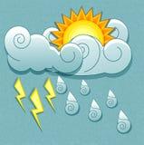 Διανυσματικά καιρικά εικονίδια στο αναδρομικό ύφος. Ήλιος πίσω από το θόριο Στοκ Εικόνες