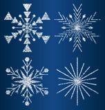 Διανυσματικά κατασκευασμένα snowflakes 3 Στοκ Εικόνα