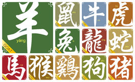 Διανυσματικά κινεζικά zodiac σημάδια με το έτος της αίγας Στοκ Εικόνα
