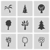Διανυσματικά μαύρα εικονίδια δέντρων καθορισμένα Στοκ εικόνα με δικαίωμα ελεύθερης χρήσης
