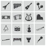 Διανυσματικά μαύρα εικονίδια οργάνων μουσικής καθορισμένα Στοκ Εικόνα