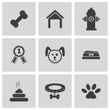 Διανυσματικά μαύρα εικονίδια σκυλιών καθορισμένα Στοκ Φωτογραφίες