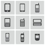 Διανυσματικά μαύρα κινητά τηλεφωνικά εικονίδια καθορισμένα Στοκ Εικόνες